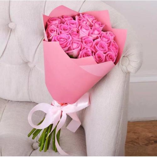 Купить на заказ Букет из 21 розовой розы с доставкой в Шардаре